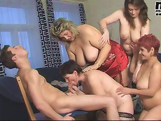 One guy fucking a lot of horny mature sluts